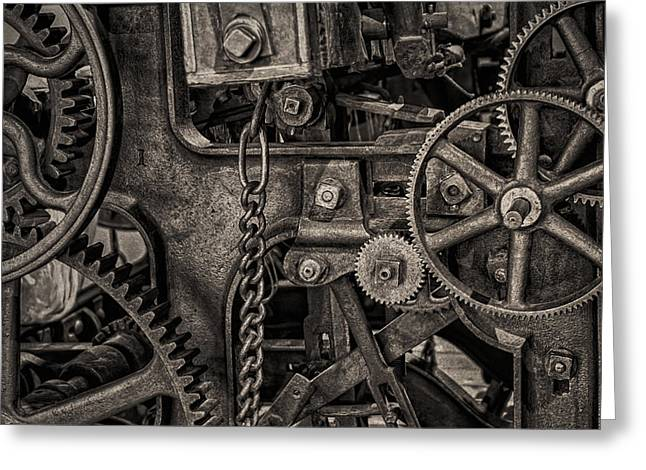 Cogs Greeting Cards - Welcome to the Machine Greeting Card by Erik Brede