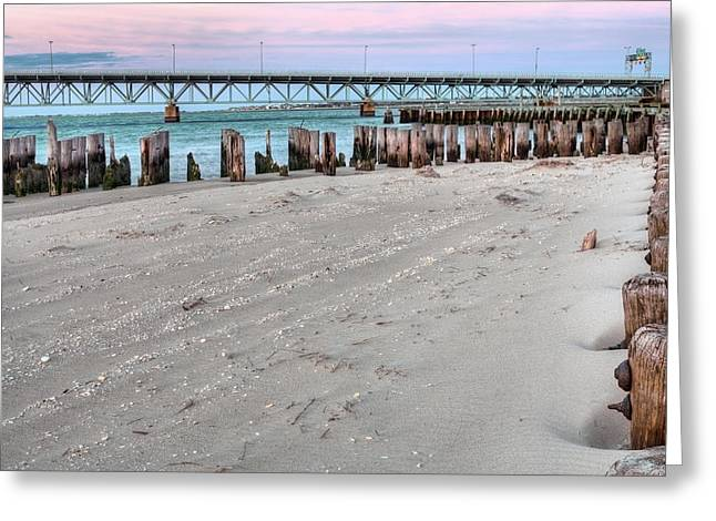 Moonlit Night Greeting Cards - Welcome to the Rockaways Greeting Card by JC Findley