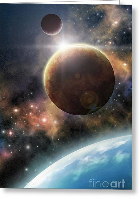 The Final Frontier Greeting Cards - Welcome to the Space Greeting Card by Liz Molnar