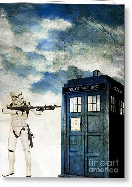 Science Fiction Pyrography Greeting Cards - Welcome to the Time Wars Greeting Card by Angelica Smith Bill
