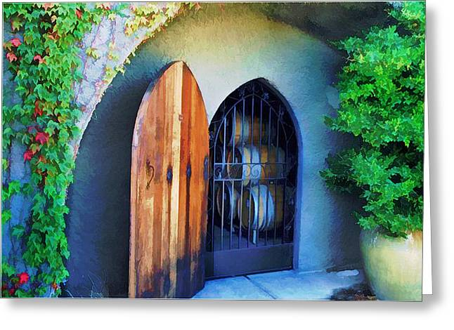 Welcome To The Winery Greeting Card by Elaine Plesser