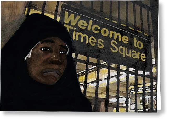 Welcome To Times Square Greeting Card by Adam Metzner