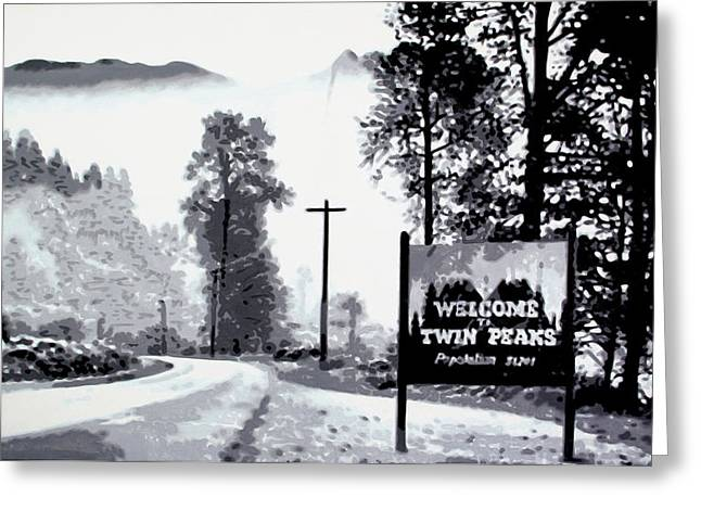 Black Lodge Greeting Cards - Welcome to Twin Peaks Greeting Card by Luis Ludzska