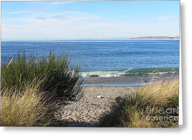 Townsends Inlet Greeting Cards - Welcoming Wave Greeting Card by Gayle Swigart