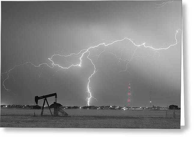 Lightning Prints Greeting Cards - Weld County Dacona Oil Fields Lightning Thunderstorm BWSC Greeting Card by James BO  Insogna
