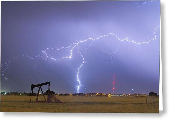Storm Prints Photographs Greeting Cards - Weld County Dacona Oil Fields Lightning Thunderstorm Greeting Card by James BO  Insogna