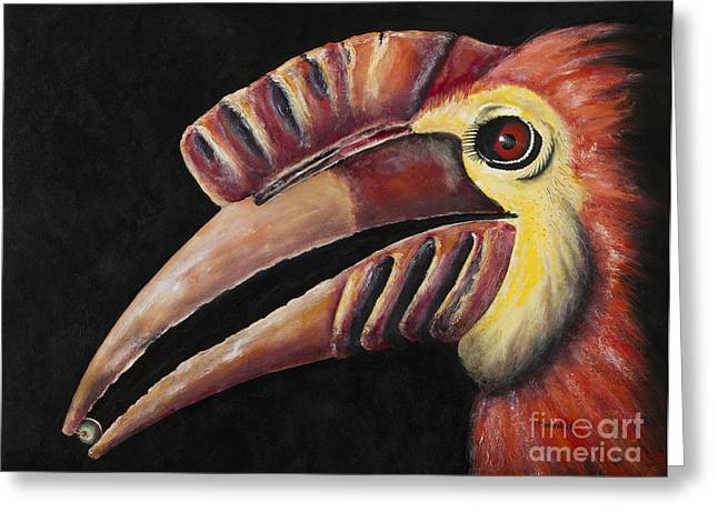 Hornbill Paintings Greeting Cards - Weldens South American Horn-bill Greeting Card by Paul Mudersbach