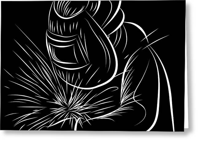 Recently Sold -  - Industrial Background Greeting Cards - Welder Scratchboard Style Greeting Card by John Takai