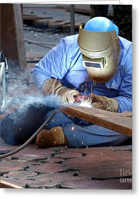 Welder Greeting Cards - Welder Using the Shielded Metal Arc Process Greeting Card by Yali Shi