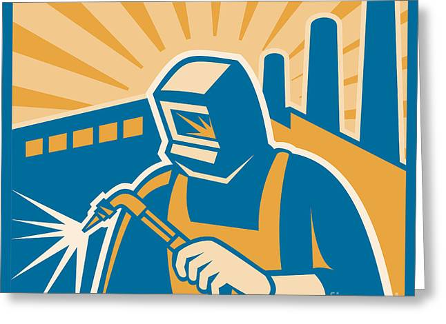 Welder Welding Factory Retro Woodcut Greeting Card by Aloysius Patrimonio
