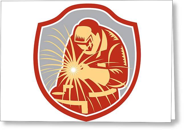 Man Looking Down Digital Greeting Cards - Welder Welding Working Shield Retro  Greeting Card by Aloysius Patrimonio