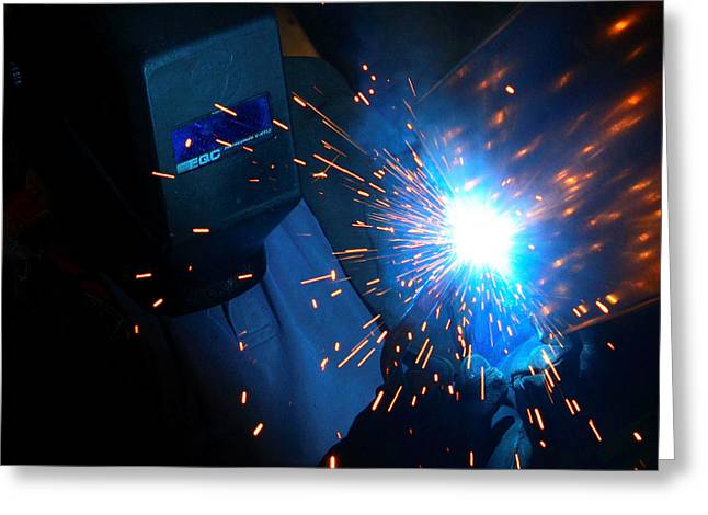 At Work Greeting Cards - Welders on Fire Greeting Card by Linda Unger