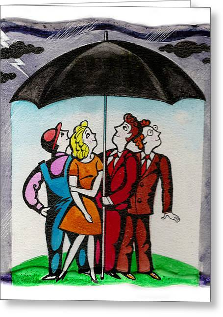 Man And Woman Greeting Cards - Welfare Greeting Card by Leon Zernitsky