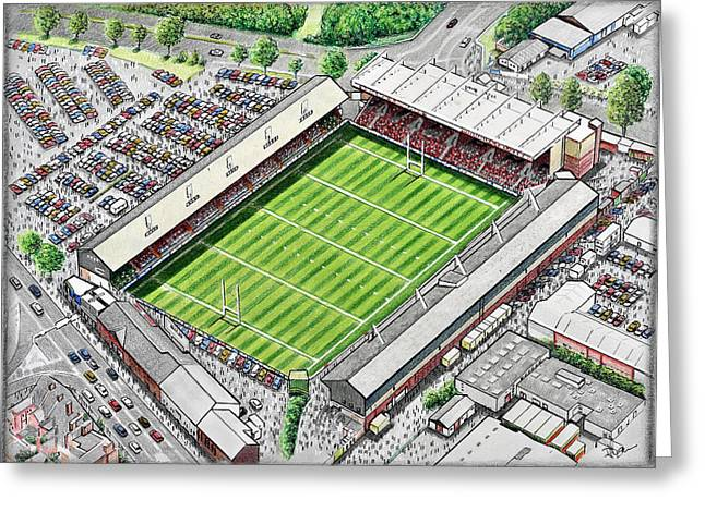League Paintings Greeting Cards - Welford Road Stadium Art - Leicester Tigers Greeting Card by D J Rogers