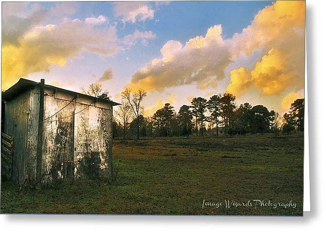 Old Well House And Golden Clouds Greeting Card by ARTography by Pamela Smale Williams