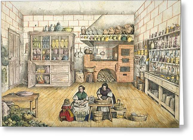 Female Worker Greeting Cards - Well Stocked Rustic Kitchen Greeting Card by French School