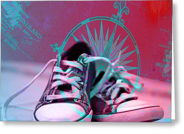 Sneaker Lace Greeting Cards - Well Travelled Greeting Card by Veronica Ventress