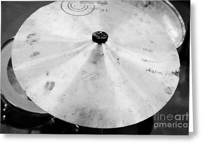 Drum Kit Greeting Cards - Well Used Cymbal On A Drum Kit In A Music Training Room Greeting Card by Joe Fox