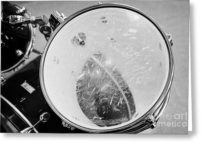 Drum Kit Greeting Cards - Well Worn Drum Skin On A Drum Kit In A Music Training Room Greeting Card by Joe Fox