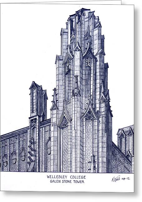Pen And Ink Framed Prints Greeting Cards - Wellesley College Greeting Card by Frederic Kohli