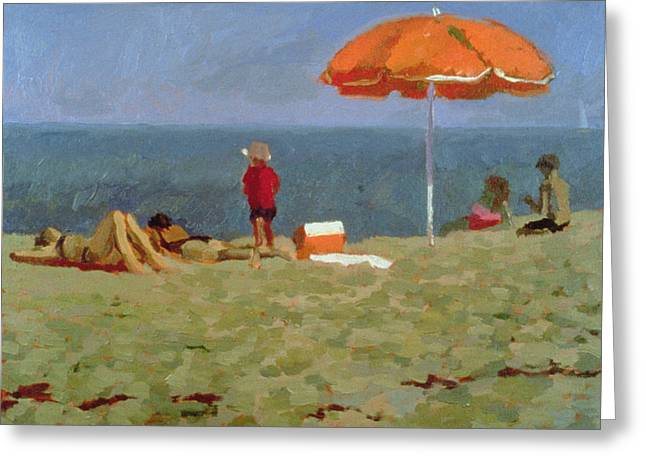 Family Vacation Greeting Cards - Wellfleet Beach Oil On Canvas Greeting Card by Sarah Butterfield