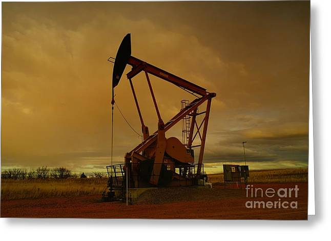 Natural Resources Greeting Cards - Wellhead At Dusk Greeting Card by Jeff  Swan