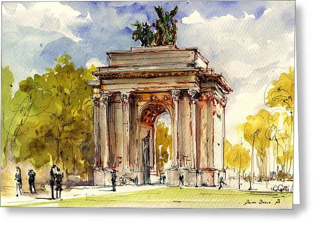 Winter Greeting Cards - Wellington Arch Greeting Card by Juan  Bosco