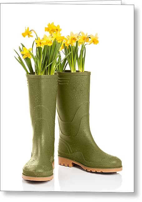 Water Droplets Greeting Cards - Wellington Boots Greeting Card by Amanda And Christopher Elwell