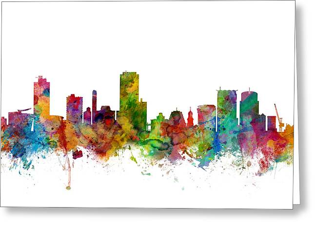 Cityscape Digital Greeting Cards - Wellington New Zealand Skyline Greeting Card by Michael Tompsett