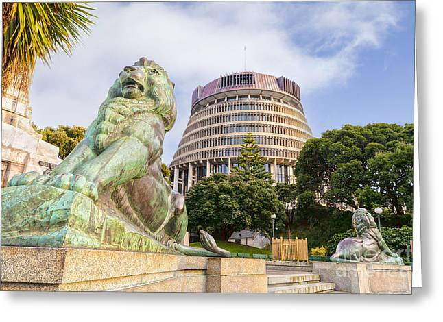 Beehive Greeting Cards - Wellington The Beehive Parliament Buildings New Zealand Greeting Card by Colin and Linda McKie