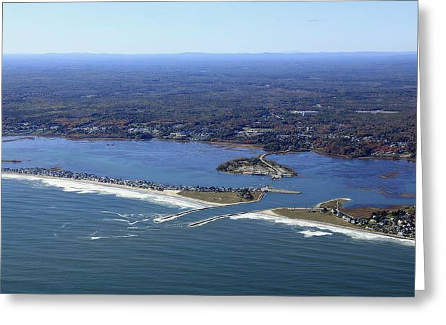 Wells Beach And Wells Harbor, Wells Greeting Card by Dave Cleaveland
