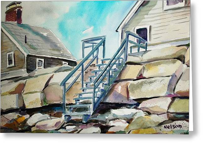 Scott Nelson And Son Greeting Cards - Wells Beach Beach Stairs Greeting Card by Scott Nelson