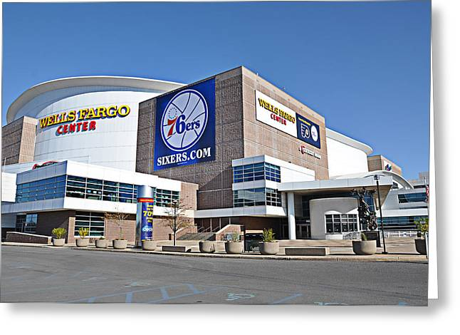 76ers Greeting Cards - Wells Fargo Center Greeting Card by Bill Cannon