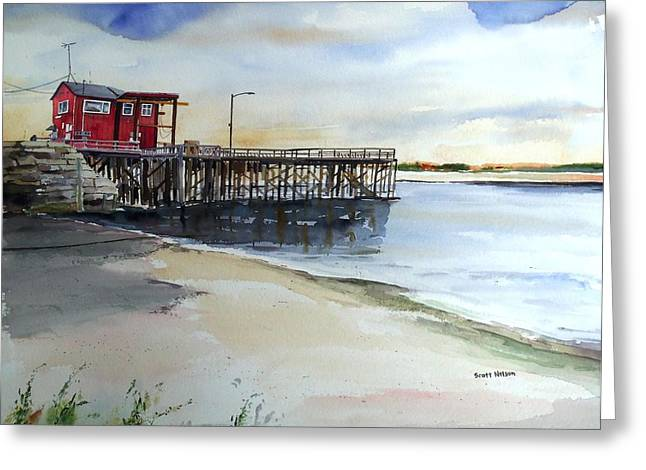 Scott Nelson Paintings Greeting Cards - Wells Harbor Dock Greeting Card by Scott Nelson