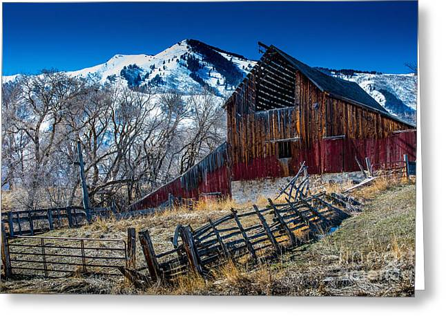 Mendon Greeting Cards - Wellsville Mountain Barn in Winter Greeting Card by Gary Whitton