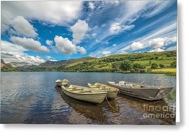 Green Boat Greeting Cards - Welsh Boats Greeting Card by Adrian Evans