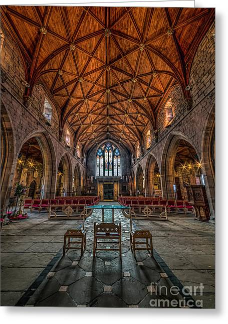Gothic Cross Greeting Cards - Welsh Cathedral  Greeting Card by Adrian Evans