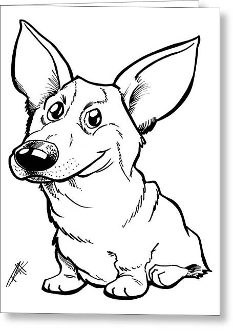 Dog Owner Drawings Greeting Cards - Welsh Corgi Greeting Card by Big Mike Roate