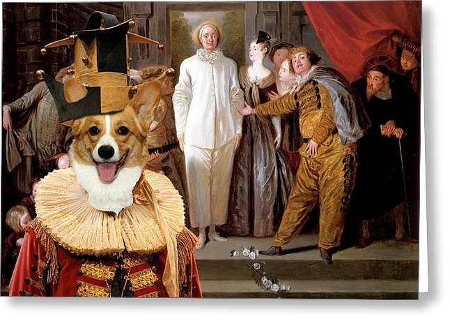 Dog Prints Photographs Greeting Cards - Welsh Corgi Pembroke Art Canvas Print - Les Comediens italiens Greeting Card by Sandra Sij