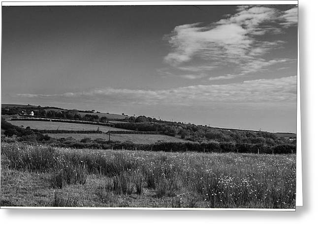 Fowler Park Greeting Cards - Welsh Countryside in mono Greeting Card by Nomad Art And  Design