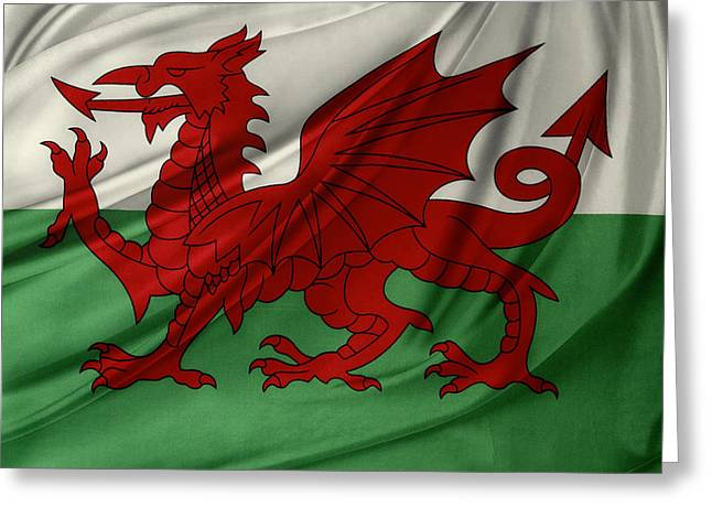 Waving Flag Greeting Cards - Welsh flag Greeting Card by Les Cunliffe