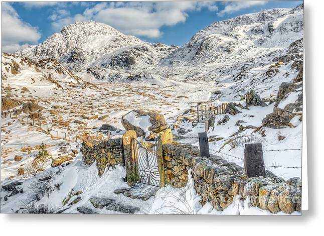 Gate Landscape Greeting Cards - Welsh Gate  Greeting Card by Adrian Evans