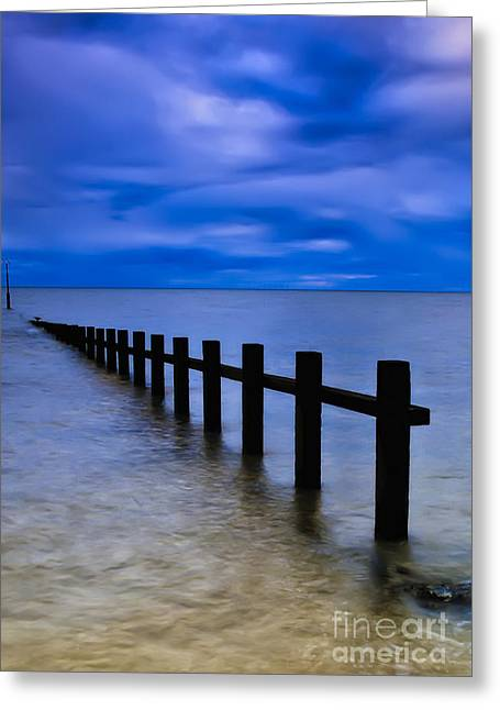 Sky Sea Greeting Cards - Welsh Seascape Greeting Card by Adrian Evans