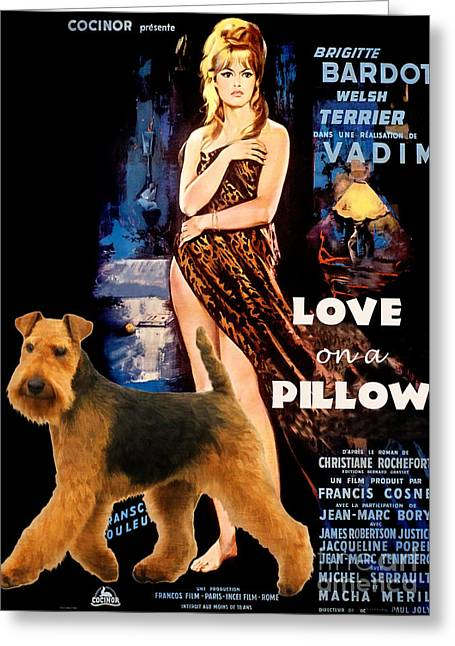 Lovers Art On Print Greeting Cards - Welsh Terrier Art Canvas Print - Love on a Pillow Movie Poster Greeting Card by Sandra Sij