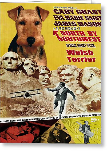 Welsh Terrier Art Canvas Print - North By Northwest Movie Poster Greeting Card by Sandra Sij