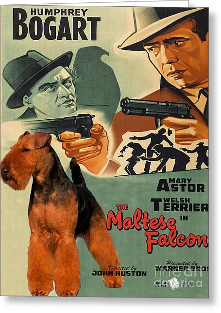 Maltese Greeting Cards - Welsh Terrier Art Canvas Print - The Maltese Falcon Movie Poster Greeting Card by Sandra Sij