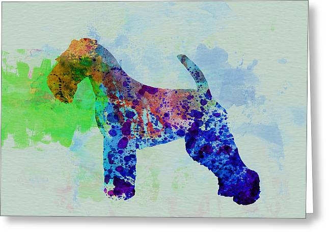 Puppies Paintings Greeting Cards - Welsh Terrier Watercolor Greeting Card by Naxart Studio