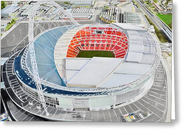 American Soccer Prints Greeting Cards - Wembley Stadia Art - England National Stadia Greeting Card by Brian Casey