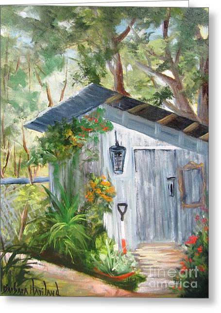 Shed Paintings Greeting Cards - Wendys Shed Greeting Card by Barbara Haviland