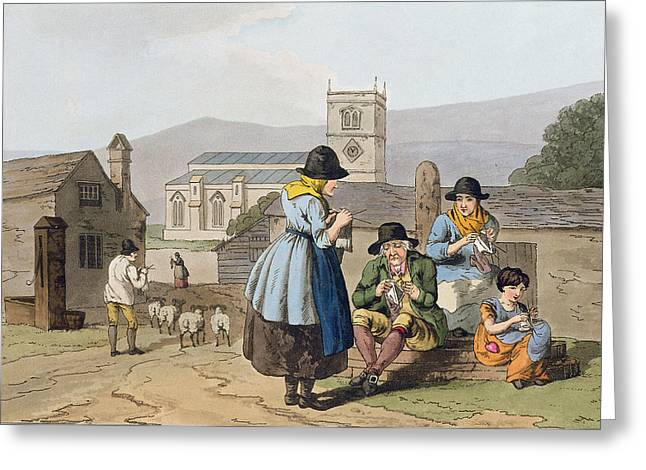 Rural Church Greeting Cards - Wensleydale Knitters, From `costume Greeting Card by George Walker